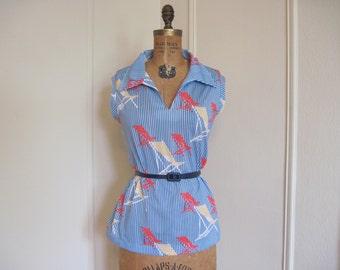 1970s blue striped Blouse, BEACH CHAIR Sailor Top - vintage size large