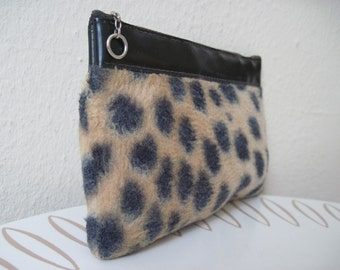 vintage 1960s Faux Leopard & Black Vinyl Zippered Cosmetic Pouch