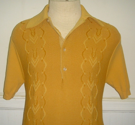 1960's Mustard Yellow Towncraft Rockabilly Shirt s\/m