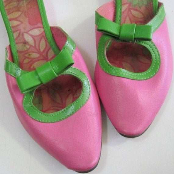 Vintage Hot Pink and Spring Green Slipper Shoes sz 5