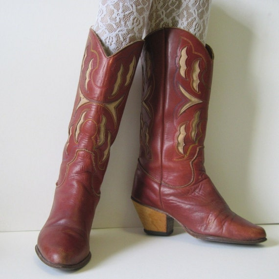 ON HOLD 1980's Golden Autumn Brown Leather ZODIAC Cowboy Boots 6
