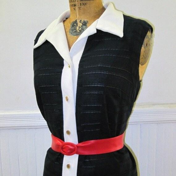 Vintage 60s Sailor Dress with Sheer Stripes