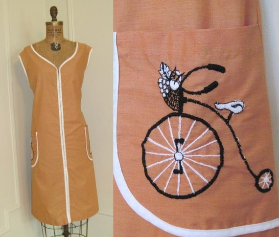 Vintage 1960s House Dress with Embroidered Penny Farthing, BICYCLE, deadstock, never worn,  XL