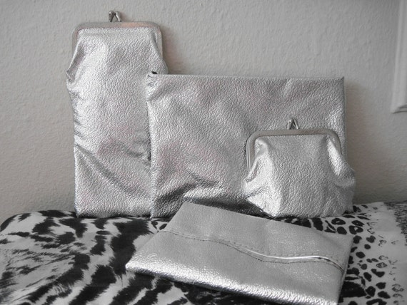 vintage 60s Silver Lame SPACE AGE Accessory Set with change purse, eyeglass case, tissue holder, and cosmetic pouch