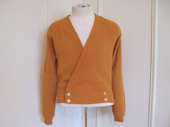 vintage 1960s Men's Varsity Prep Mustard Knit Cardigan Sweater