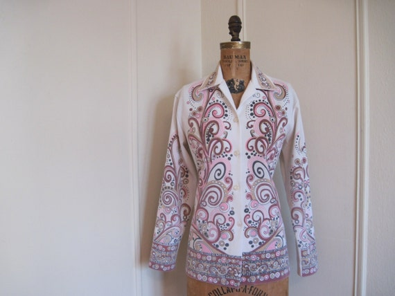 1970s Pink, Brown, and Black Psychedelic Swirl Blazer Jacket - size large to extra large, l/xl