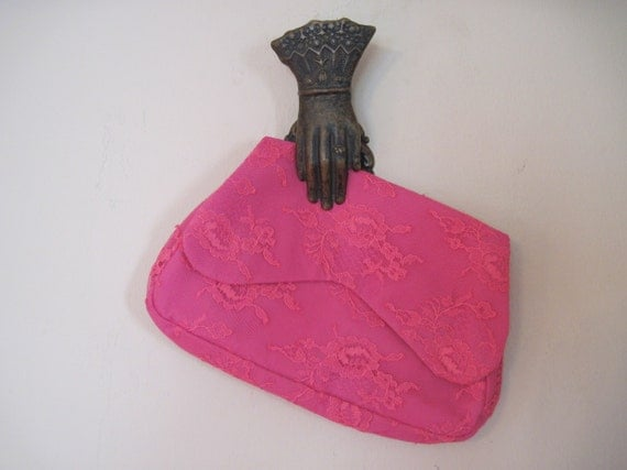 vintage 60s HOT PINK Lace Clutch, MOD evening bag