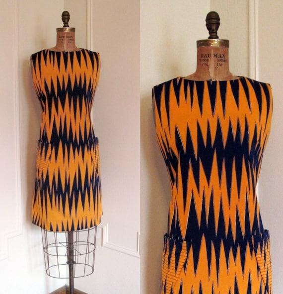 On Hold Vintage 60s CHEVRON LIGHTENING Dress