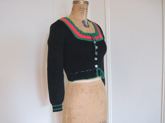 1950s Black, Red, and Green Cropped Cardigan Sweater -size extra small to small, xs/s