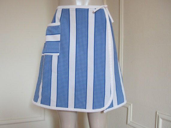vintage 1960s Blue and White Striped Tennis Skirt - Skort, SUPER PREPPY, size medium