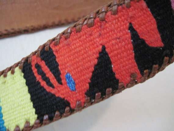 vintage 1970s LEATHER Southwestern BELT with Bright and Cheerful Woven Color Block Tribal Designs - fits like a small to medium