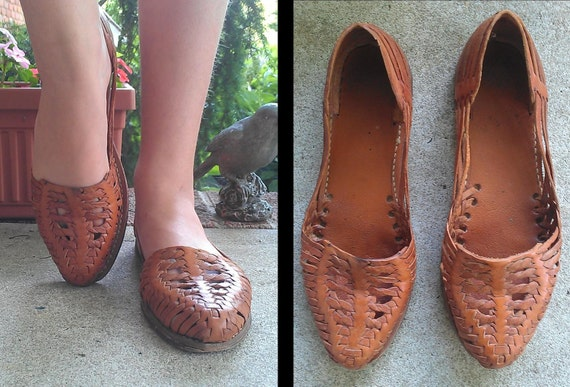 Huarache - vintage 1980s Honey Brown Woven Leather Flats - size 9