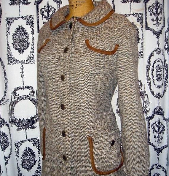 Vintage 50s HARRIS TWEED HERRINGBONE Wool Coat m/l