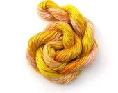Hand dyed stranded cotton embroidery floss, 20m skein - pink grapefruit, apricot, lemon