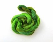 Hand dyed cotton perle 8 embroidery yarn, 30m skein - olive, bright green, jade