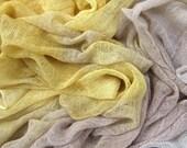 Hand dyed cotton scrim - light yellow, beige, grey, gray