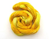 Hand dyed stranded cotton embroidery floss, 20m skein -  daffodil, lemon,  golden yellow