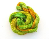 Hand dyed stranded cotton embroidery floss, 20m skein -  dark yellow, golden yellow, lime green, light olive green