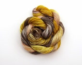 Hand dyed stranded cotton embroidery floss, 20m skein - beige, mustard yellow, light peach, dark brown