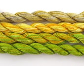 Hand dyed cotton perle 8 embroidery yarn, 4 mini skeins - beige, light brown, taupe, yellow, lime green, bright green, chartreuse