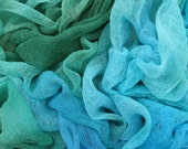 Hand dyed cotton scrim, cotton gauze - teal, jade green, turquoise, pale blue, royal blue, bright blue