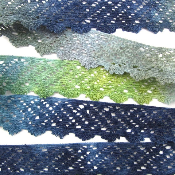 Hand dyed cotton lace - navy blue, green, grey