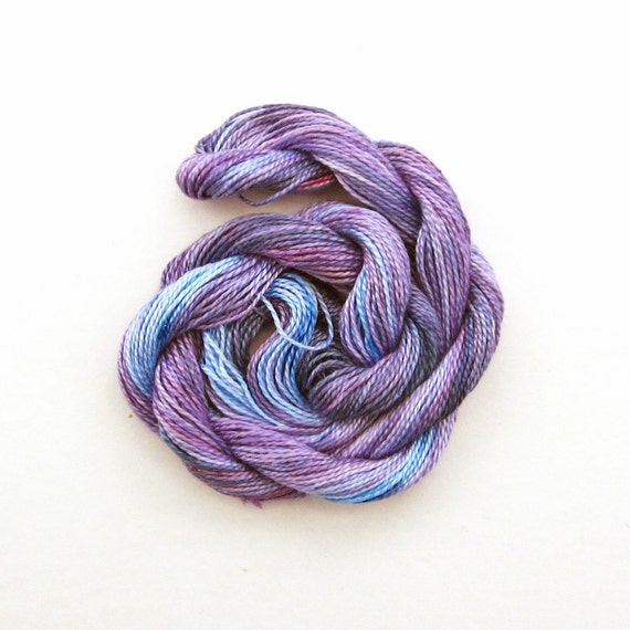 Hand dyed cotton perle 8 embroidery yarn, 30m skein - mauve, violet, light blue, blue grey