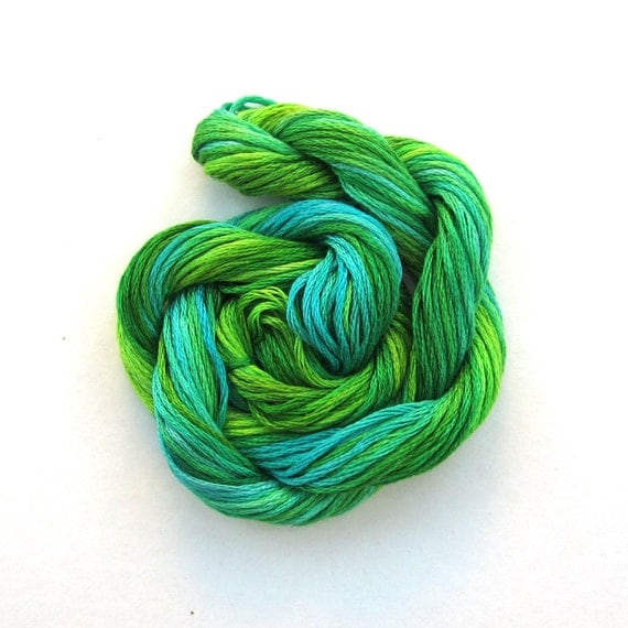 BOXING DAY SALE - Hand dyed stranded cotton embroidery floss, 20m skein - emerald green, bright green, turquoise, jade
