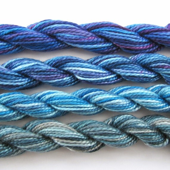 Hand dyed cotton perle 5 embroidery thread, 4 mini skeins - bright blue, light blue, navy blue, purple, grey, gray, blue grey,