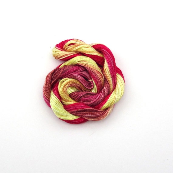 Hand dyed cotton perle 8 embroidery yarn, 30m skein - cream, light yellow, bright pink, raspberry, light brown