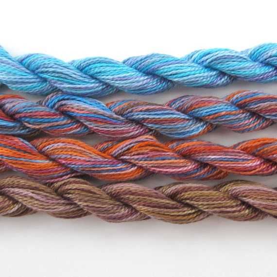 Hand dyed cotton perle 8 embroidery yarn, 4 mini skeins - kingfisher, light blue, turquoise, orange, terracotta, royal blue, brown