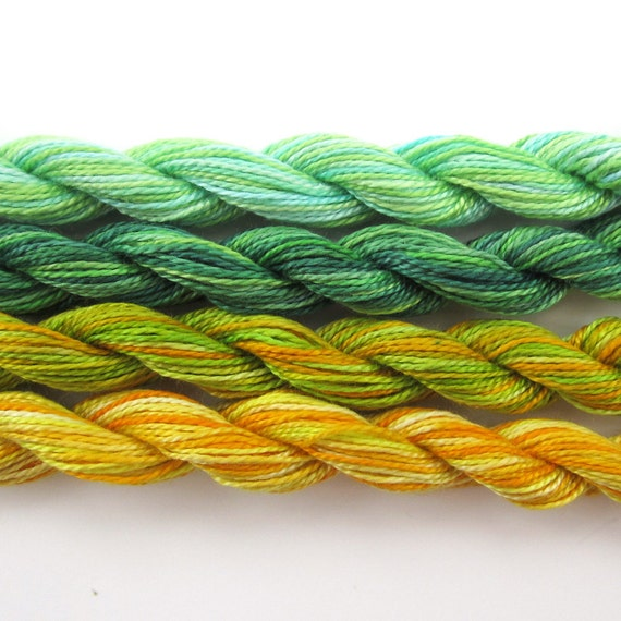 Hand dyed cotton perle 8 embroidery yarn, 4 mini skeins - light green, pale blue, dark emerald green, lemon yellow, lime green