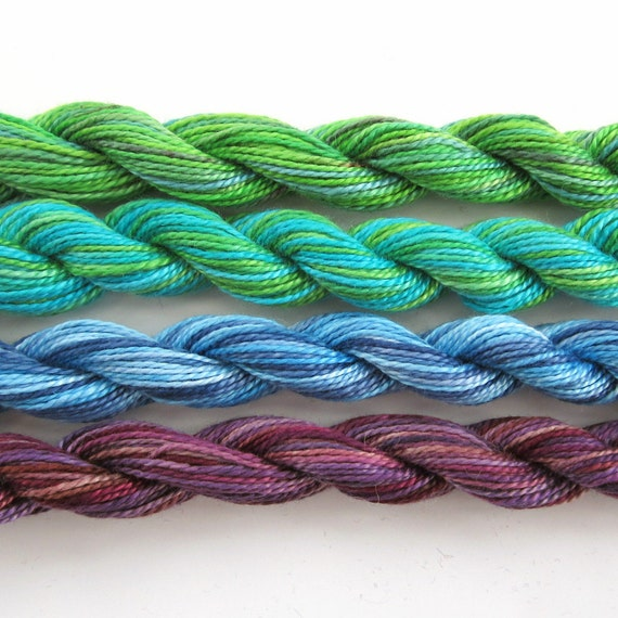 Hand dyed cotton perle 8 embroidery yarn, 4 mini skeins - bright green, turquoise, light blue, navy blue, mauve, purple