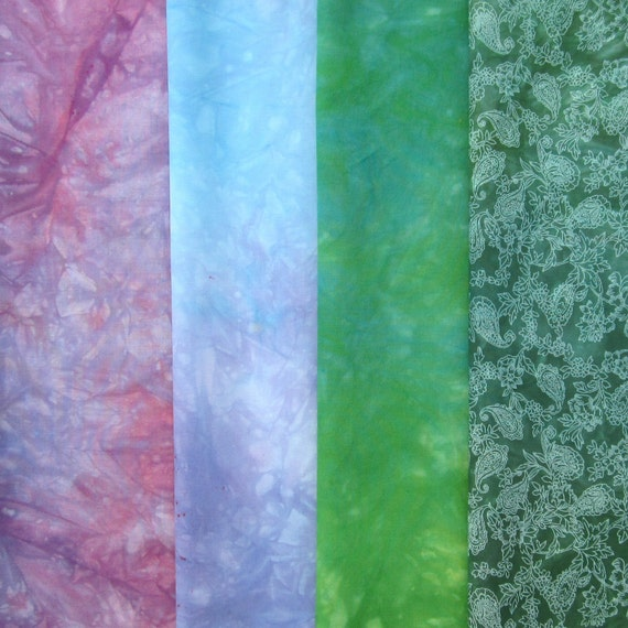 Hand dyed cotton fabric bundle - 4 fat quarters - mauve, purple, violet, lavender, bright green, emerald, blue, dark green, spring