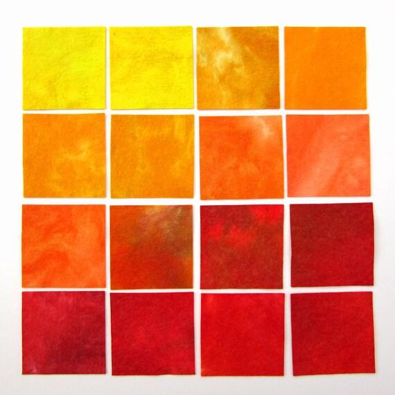 Hand dyed wool viscose felt - 16 x 4 inch squares - lemon, golden yellow, peach, orange, terracotta, red
