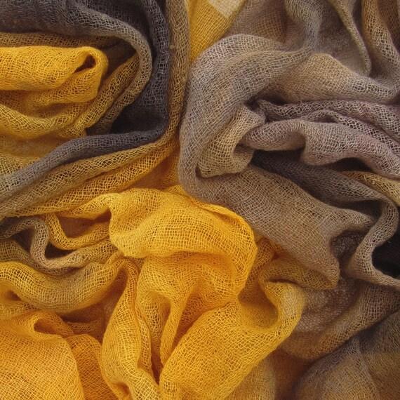 Hand dyed cotton scrim, cotton gauze - chocolate, brown, coffee, mustard, dark yellow, beige