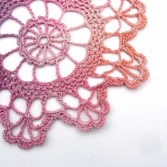 Hand dyed crochet doily - light pink, purple, mauve, lavender, lilac