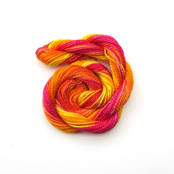 Hand dyed cotton perle 5 embroidery thread, 20m skein, bright pink, orange, yellow, lemon