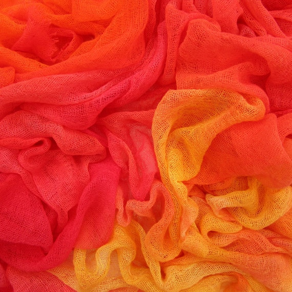 Hand dyed cotton scrim, cotton gauze -  bright red, orange, tangerine, hot pink, yellow