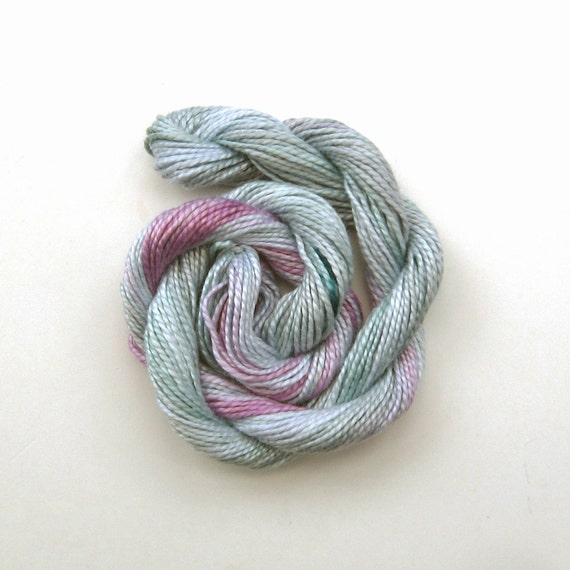 Hand dyed cotton perle 5 embroidery thread, 20m skein -  light grey, pale pink