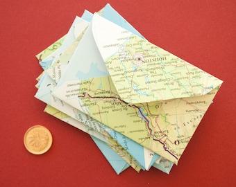 Set of 10 Miniature Handmade Atlas Envelopes