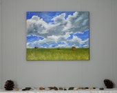 clouds field landscape painting