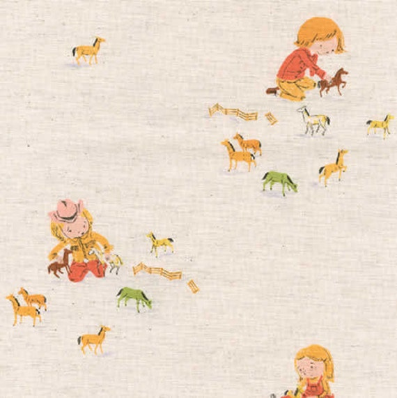 1 yard-Girls and Horses in Natural,  Far Far Away 3, Heather Ross, Kokka Fabrics