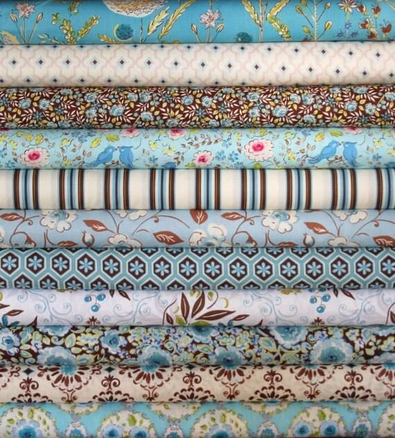 London fat quarter bundle (blue)--11 pieces (2-3/4 yards total), Dena Designs, Free Spirit Fabrics
