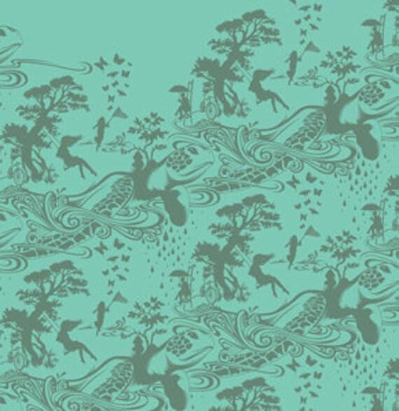 1 yard---Turtle Bay in Aqua, Prince Charming, Tula Pink, Free Spirit Fabrics