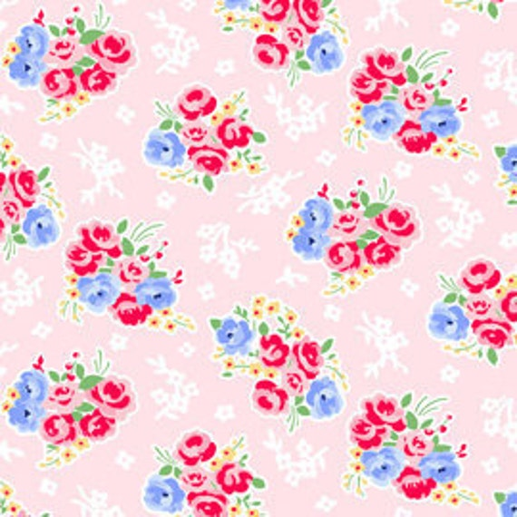 1 yard---Bouquet in Pink, Pam Kitty Morning, Lakehouse Dry Goods