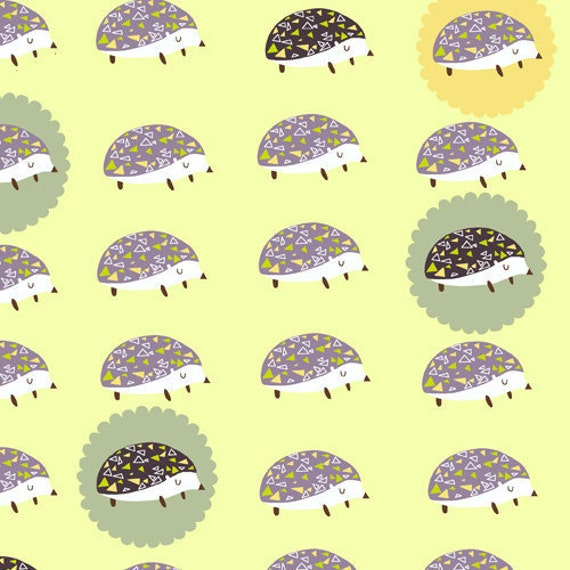 SALE---1 yard---Hedgehogs in Outwitted, Outfoxed, Lizzy House, Andover Fabrics