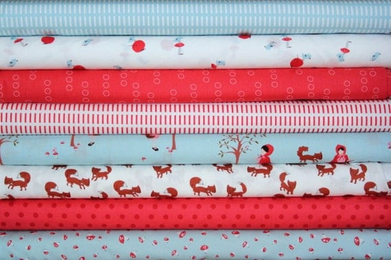 a walk in the woods fat quarter bundle--8 pieces--2 yards total--aneela hoey for moda fabrics