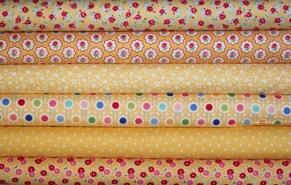 fat quarter bundle--6 pieces (1-1/2 yards total) from the Pam Kitty Morning Collection, Lakehouse Dry Goods