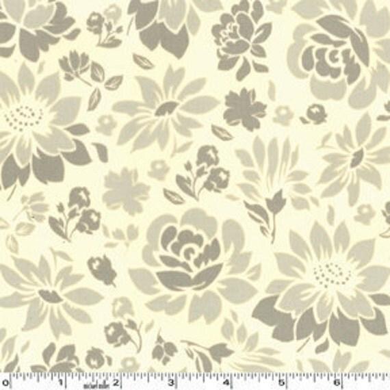 SALE---1 yard---Picnic Flowers in Khaki, Secret Garden, Sandi Henderson, Michael Miller Fabrics